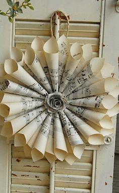Sheet Music Wreath Vintage Hymnal wtih paper door roseflower48