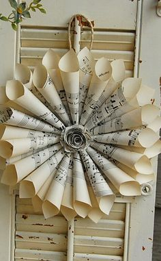 10 Paper Wreaths made from Vintage Sheet Music Wedding Pew Markers by roseflower48,