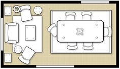 Dining / sitting room combo layout. Floor plan from Ballard Designs - www.howtodecorate.com via littleellieoriginals.com.