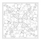 Party Hats Mandala for kids to color in preschool and kindergarten. Download full-size for free from www.kigaportal.com