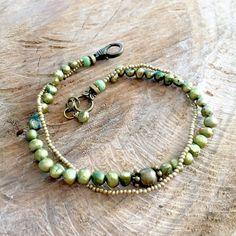 Green ankle bracelet pearl boho anklet freshwater pearl