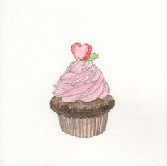 Cupcake #1 Watercolor by sketchmodern on Etsy https://www.etsy.com/listing/214090118/cupcake-1-watercolor