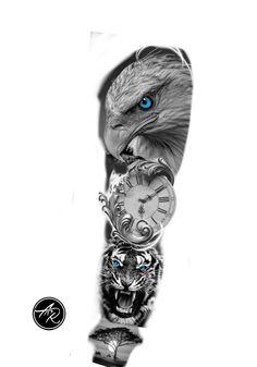 Eagle Tattoos, Wolf Tattoos, Animal Tattoos, Leg Tattoos, Body Art Tattoos, Tattos, Chicano Tattoos Sleeve, Forearm Sleeve Tattoos, Best Sleeve Tattoos