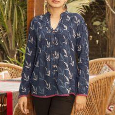 Indigo shirt : Hand printed indigo pleated farmers shirt