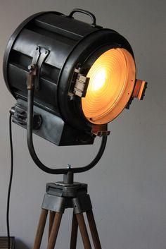 Ancien projecteur cinema hollywood Richardson an 40/50 trepied bois