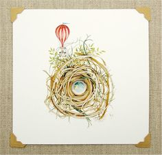 hot air balloon nest print nature whimsical by atticEditions