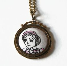 """Lucy Locket: Liberty of London Grayson Perry """"Flo"""" print fabric rolled gold pendant by ohyouhandsomedevil on Etsy"""