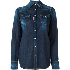 Dsquared2 'Western' shirt (26,550 PHP) ❤ liked on Polyvore featuring blue and dsquared2