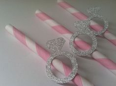 25 Silver Engagement Ring Paper Straws. Bridal Showers, Engagement Party, Weddings or Bachelorette Parties. Decorated Straws.