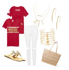 """""""49ers"""" by tiffany-volkerding on Polyvore featuring Topshop, Tory Burch and Stella & Dot"""