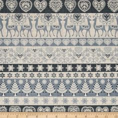 Scandi 3 Stripe Gray from @fabricdotcom  Designed by The Henley Studio for Makower UK, this festive cotton print is perfect for quilting, apparel, and home decor accents. Colors include grey, blue-grey, and off-white.