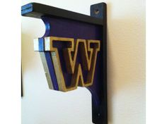 University of Washington rustic book shelf bracket-- Perfect for a dorm room!
