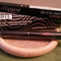 Great deal!! 3 piece eye set Brand new sealed eye products!! Full size flirt! extreme black mascara Full size bellapierre Gel Eye Liner in Ebony Full size eye shadow pencil in charming champagne Makeup Eyeliner