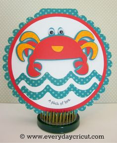 A Pinch of Love card using Cricut Pack Your Bags and Birthday Bash cartridges by Melanie at Everyday Cricut
