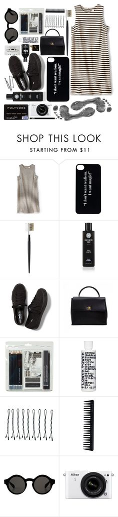 """""""Black and white"""" by untake-n ❤ liked on Polyvore featuring FOSSIL, Kanebo, Gentlemen's Tonic, Keds, Chanel, Royal & Langnickel, Nature Girl, BOBBY, GHD and Monki"""