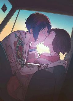 """Lesbian Kiss - Max and Chloe - """"Life is strange"""" Life Is Strange Fanart, Life Is Strange 3, Lesbian Art, Lesbian Love, Lesbian Quotes, Anime Couples, Cute Couples, Chloe Price, Max And Chloe"""