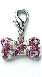 Pink and clear crystal,pave,set,bone,shape,collar,clip,dog,charm,pets