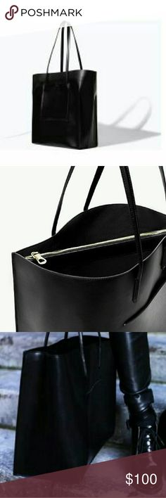 Zara tote bag Large black tote in perfect condition. No box. Perfect for college/university, larger enough for laptop+ more. Sold out everywhere. Zara Bags Totes