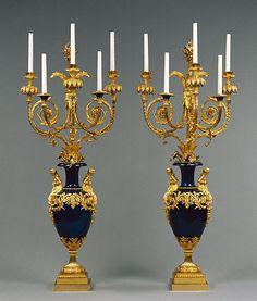 Candelabra. Attributed to Lucien-François Feuchère   French, Paris, 1784 - 1786   Blued metal; gilt bronze