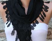 ON SALE - Black  Scarf  -  Cotton Scarf  -  Cowl Scarf - Shawl with Lace