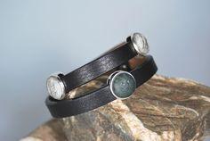 Lederwickelarmband schwarz mit Perlen von DaiSign auf DaWanda.com