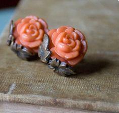 Vintage Art Deco Earrings . Coral Orange Rose Earrings . 1920s Jewelry - Clip On Earrings
