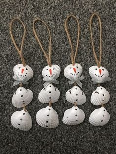 Set Of 4 Nautical Sea Shell Snowmen Christmas Tree Ornaments