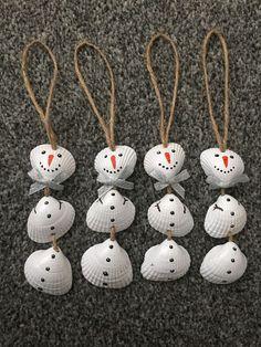 Set Of 4 Nautical Sea Shell Snowmen Christmas Tree Ornaments