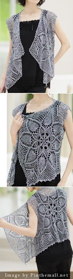 crochet - pineapple lace sleeveless cardigan top with waterfall front - love this - I think it's just three rectangles
