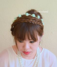 Mint Rose Crown Headpiece Bridal Hair Wreath Woodland Headband Outdoor Wedding Romantic Spring Summer Festival Floral Band Rustic Soft H1