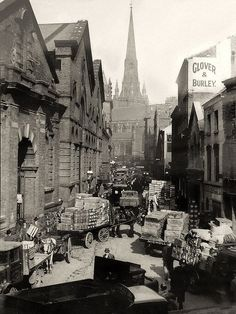 The Bull Ring markets, Birmingham - morning deliveries in springtime 1936