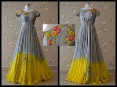 Here is a lovely Ash and yellow combi Floor length from Team Teja ! TS-DS- 354 Available For orders/queries what's app us on 8341382382 or… Indian Gowns Dresses, Indian Fashion Dresses, Designer Anarkali Dresses, Designer Dresses, Anarkali Frock, Lengha Choli, Saree Dress, Frock Models, Kalamkari Dresses