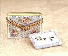 Limoges I Love You Blue Letter with Envelope Box The Cottage Shop