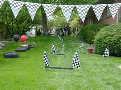 Race Party - Set up a race track outlined with race flags, banners or crepe paper. Add balloons for a decorative touch.