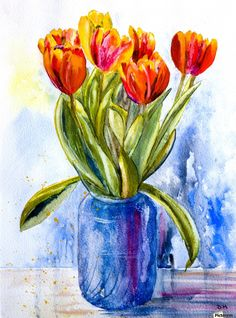Tulips in a Blue Jar , Hammond Fine Art , beautiful, bouquet, flower, vase, background, nature, spring, beauty, floral, tulip, gift, decoration, pink, flora, blossom, plant, fresh, bloom, natural, yellow, leaf, white, green, design, petal, summer, color, love, glass, romantic, day, colorful, celebration, holiday, stem, isolated, bright, greeting, valentine, tulips, march, season, art, romance, concept, light, red, present, closeup, bunch