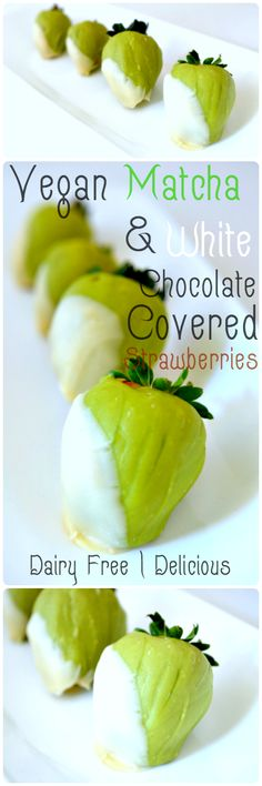 Vegan Matcha and White Chocolate Covered Strawberries - A delicious and different take on chocolate covered strawberries! Click for the recipe or pin this for later <3
