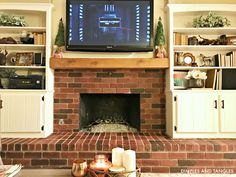 Creative and Modern Tips: Fireplace Built Ins Bookshelves field stone fireplace.Fireplace And Tv Focal Points small fireplace living room.Tv Over Fireplace Cover. Tall Fireplace, Small Fireplace, Brick Fireplace Makeover, Farmhouse Fireplace, Fireplace Shelves, Wooden Fireplace, Fireplace, Diy Fireplace