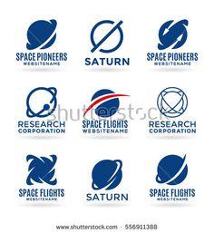 Space logo design elements, planet icons, astronomy symbols