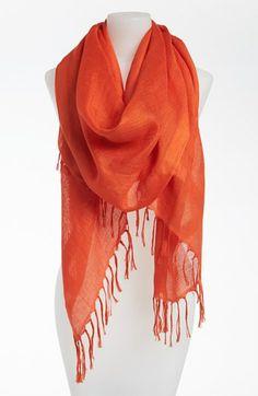 Linen blend scarf | orange