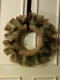 Fall Wreath made with Burlap and Green & Black Tulle