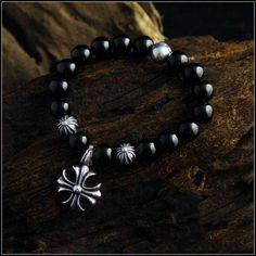 Big Cross Chrome Hearts Bracelet Pendant Black Agate