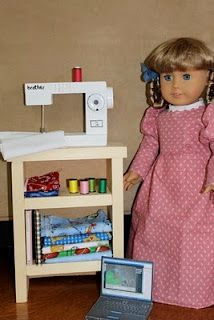 "MADE: Pieces For Reese: 18"" Doll: Wooden Sewing Machine- make your own doll sewing machine"