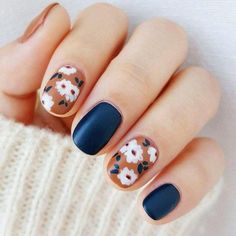 Crazy Gorgeous Wedding Nail Ideas for Girls #WhiteToenailFungus Flower Nail Designs, Fall Nail Art Designs, Nails With Flower Design, Nails Design, Spring Nails, Summer Nails, Cute Nails, Pretty Nails, Cute Fall Nails