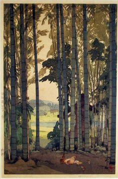 Hiroshi Yoshida Bamboo Wood woodblock