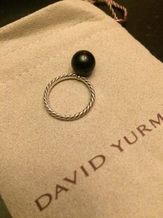 DAVID YURMAN Onyx 10mm Cable Ball Stack Ring Sterling Silver 925 Size 7 - http://designerjewelrygalleria.com/david-yurman/david-yurman-onyx-10mm-cable-ball-stack-ring-sterling-silver-925-size-7-2/
