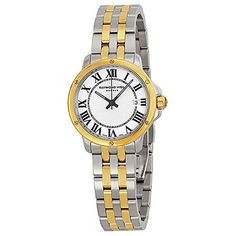 Raymond Weil Tradition Quartz Roman Numeral Dial Date Two Tone Stainless Steel Watch #5391-STP-00300 (Women Watch)