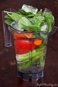 V8-inspired pre-blend 6 oz water 1 large tomato ½ cucumber 2 pieces celery 2 carrots handful of baby spinach lemon juice from 1 lemon (or balsamic vinegar) 6 ice cubes  optional (included in this recipe): ~3 tbsp chia seeds ~1/2 tbsp nutritional yeast salt to taste