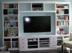 Built-in Entertainment Center Built In Entertainment Center, Bookshelves In Living Room, Muebles Living, Carpentry Projects, Cabinet Doors, Living Area, Family Room, Home Improvement, Sweet Home