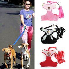 1set High Quality Adjustable Nylon Mesh Dog Harness Vest & Leash Rope,Puppy Comfort Collar Harness Braces Clothes 4 Colors 3size #Affiliate