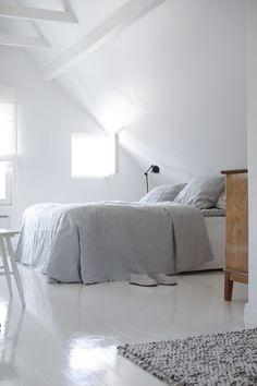 white grey loft light simple bed bedroom
